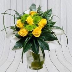 Sárga rózsa csokor macifűvel